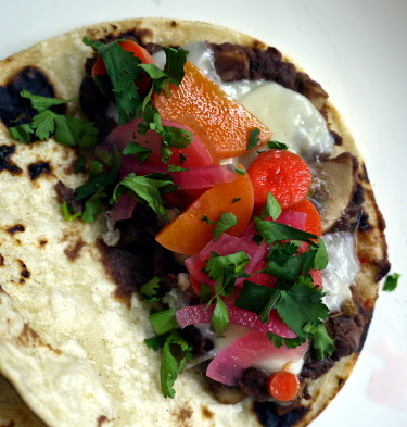 black bean tacos with carrot pickles