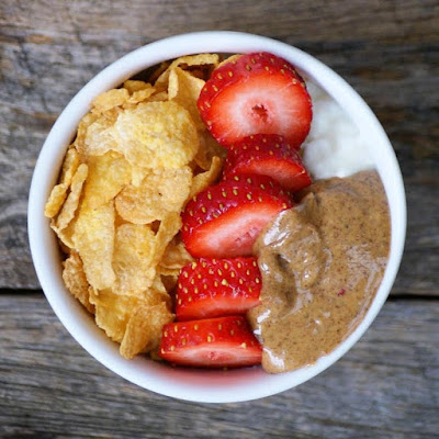 Cottage Cheese, Strawberries, Almond Butter and Gluten Free Cornflakes - Healthy Snack Ideas