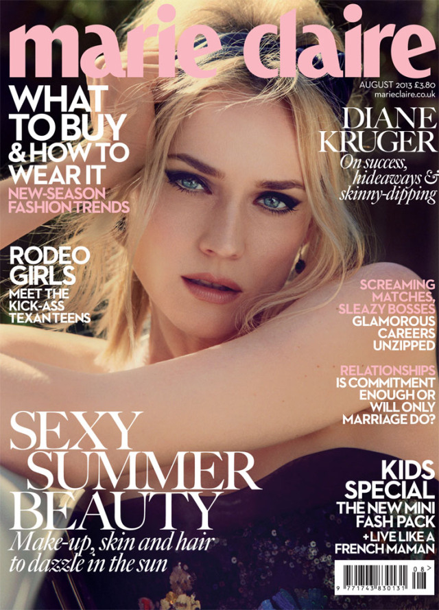 Diane Kruger features on Marie Claire's August 2013 Cover Story 'Driving Ambition'