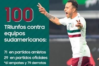 ¡MÉXICO LLEGÓ A 100 TRIUNFOS CONTRA SUDAMERICANOS!