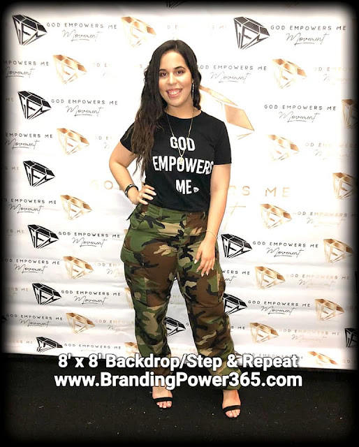 "8' x 8' Step and Repeat Backdrop for Yariana's ""God Empowers Me"" Movement in Miami, Florida (www.BrandingPower365.com)"