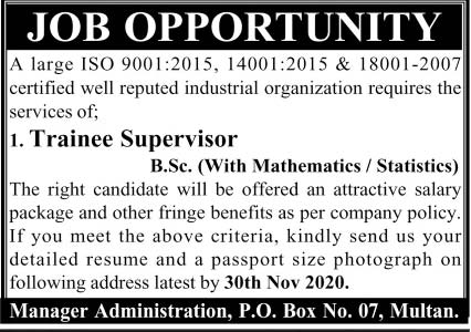 P.O Box No. 07 Jobs 2020 Advertisement in Multan
