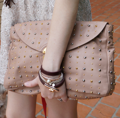 Miu Miu studded leather clutch bag cammeo