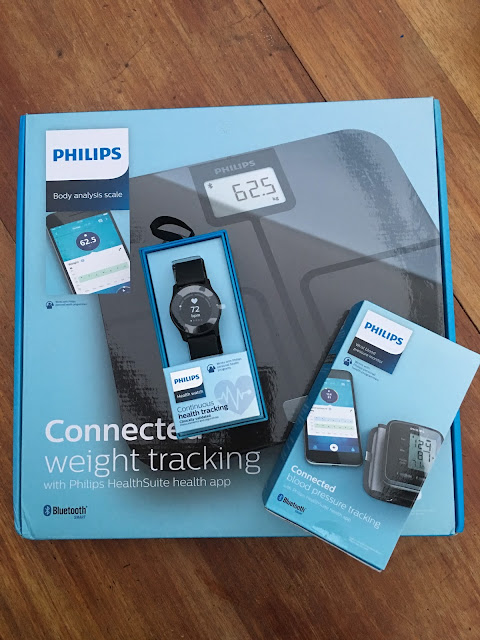 Philips health watch, body analysis scales and blood pressure monitor