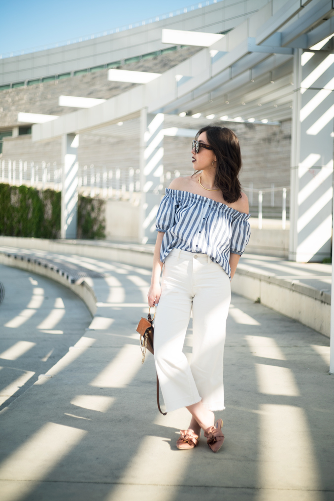 ReadyTwoWear: Off-The-Shoulder Top, Wide Leg Crop Pants