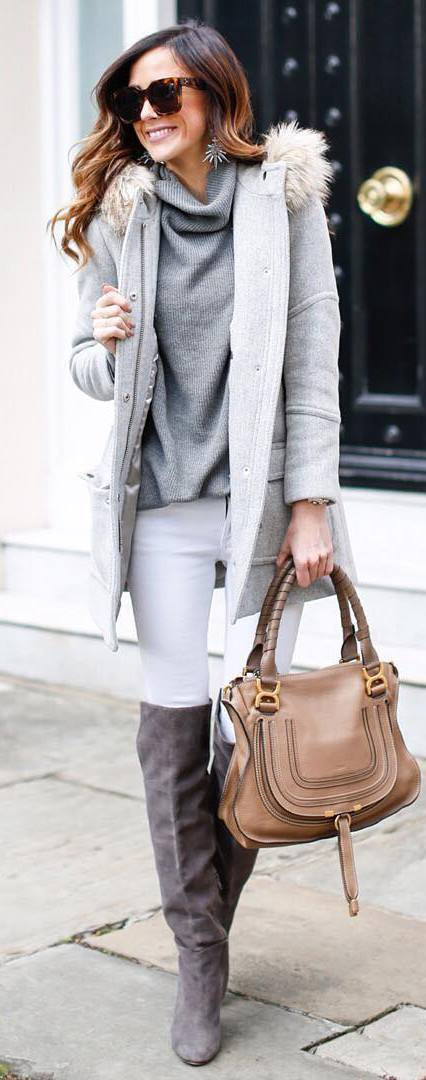 how to wear a parka : grey sweater + bag + white skinnies + over the knee boots