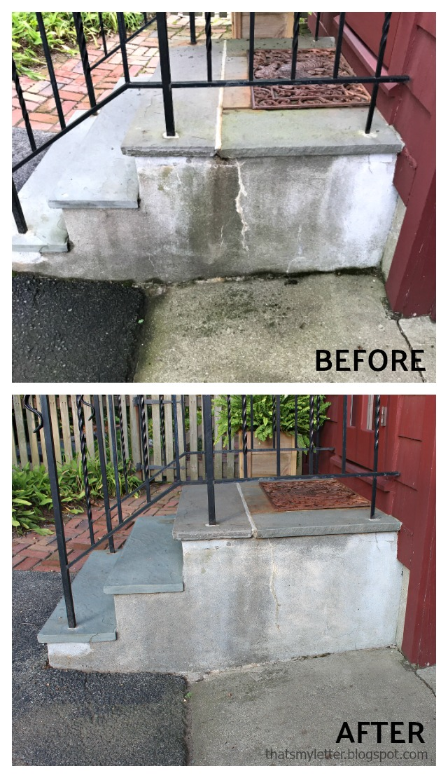 pressure washing concrete steps before after