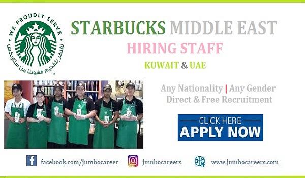 Starbucks Middle East Careers 2021 for UAE Kuwait Qatar