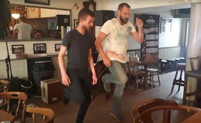 Learning Irish dancing at Malzards Irish pub near Kilkenny in Ireland