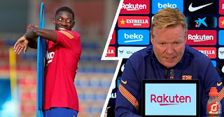 'We have a lot of competition in attack': Barca boss Koeman refuses to rule out potential Dembele's exit amid Man United links