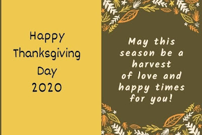 Happy thanksgiving day 2020 written on yellow flower background.