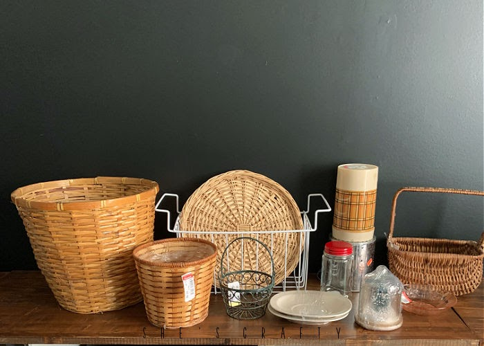 Goodwill thrift store haul - baskets, thermos, glass pieces, metal baskets