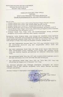 Kapolres Tana Toraja AKBP Sarly Sollu Himbau perayaan Natal 2020 dan Tahun baru 2021 tetap Mematuhi Protokol kesehatan. Selasa (15/12/20)