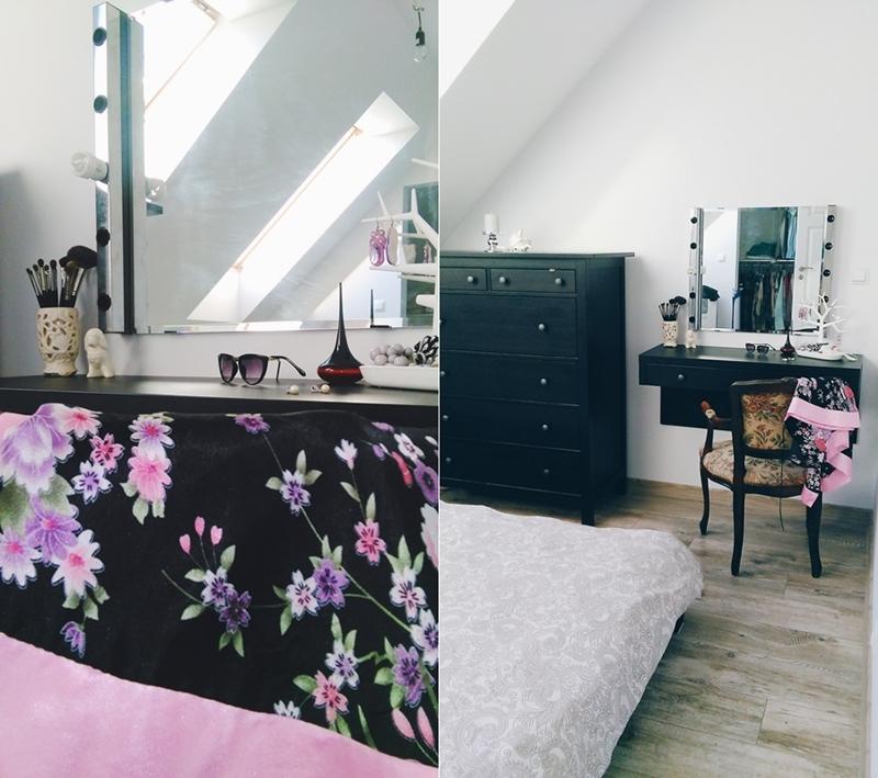 toaletka w sypialni, hampton bedroom, lustro z żarówkami, hemnes ikea w sypialni