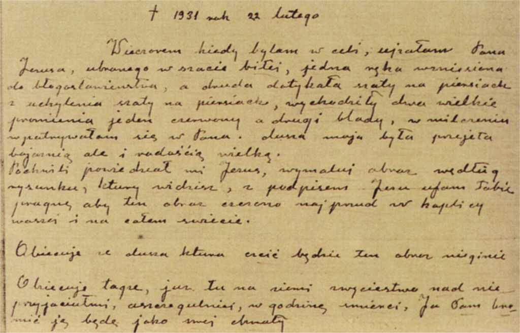 Detalhe do Diário de Santa Faustina. Anotações do dia 22 de fevereiro de 1931, dia em que a Divina Misericórdia mandou fazer o quadro.