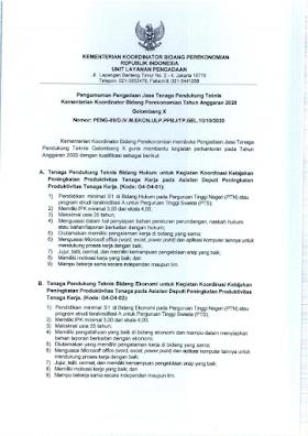 Lowongan Kerja S1 Terbaru di Kementerian Koordinator Bidang Perekonomian Bandung Oktober 2020