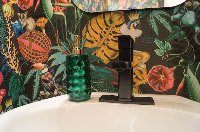Colorful Powder Bath Makeover Pedestal Sink Faucet