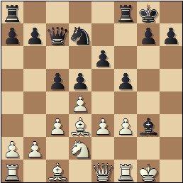 Partida de ajedrez Puget vs. Ferrer, posición después de 14…Axg3