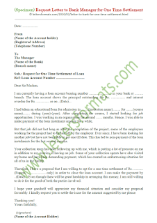 letter to bank manager for one time settlement