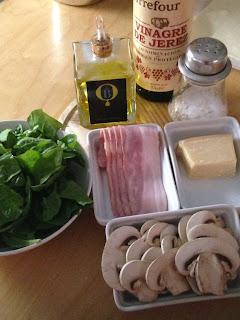 Ensalada de espinacas, ingredientes