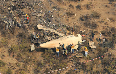 Crash of a Pakistan International Airlines plane.