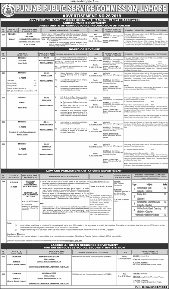 PPSC Advertisement 26/2019 Page No. 1/2