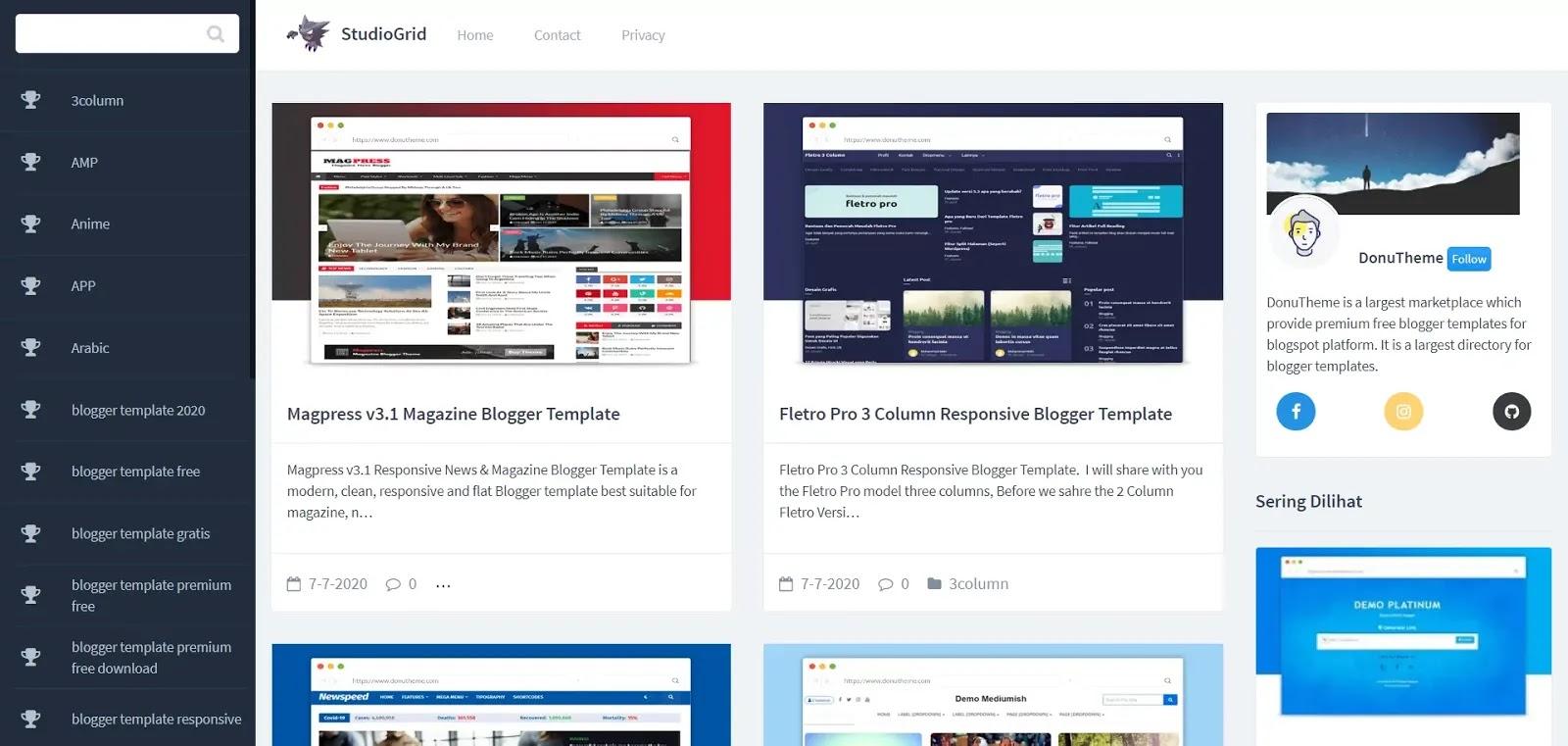 StudioGrid Responsive Blogger Template