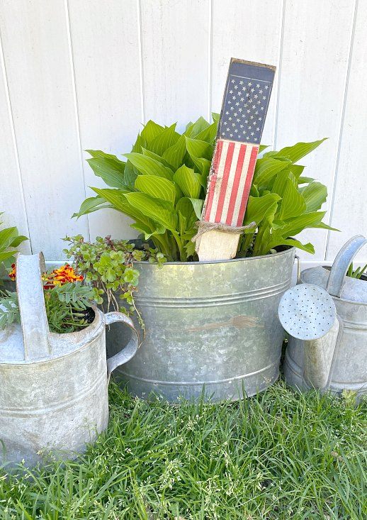 Cluster of galvanized tubs and watering cans with plants and flag stake