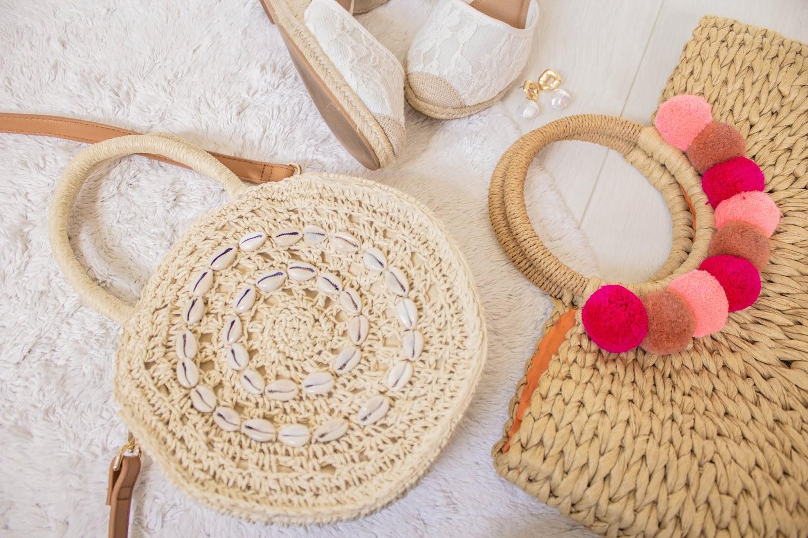 Circular straw bag with sea shell embellishment
