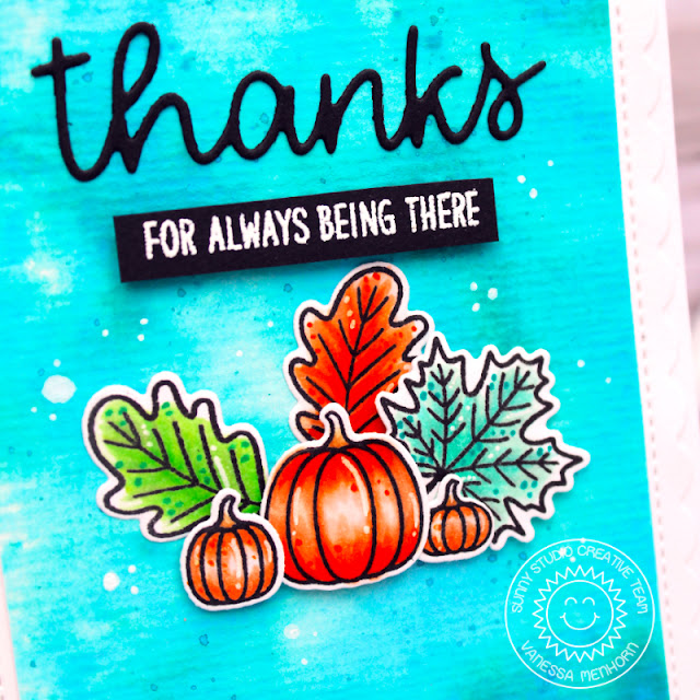 Sunny Studio Stamps: Words of Gratitude Thank You Words Dies Beautiful Autumn Thank You Card by Vanessa Menhorn