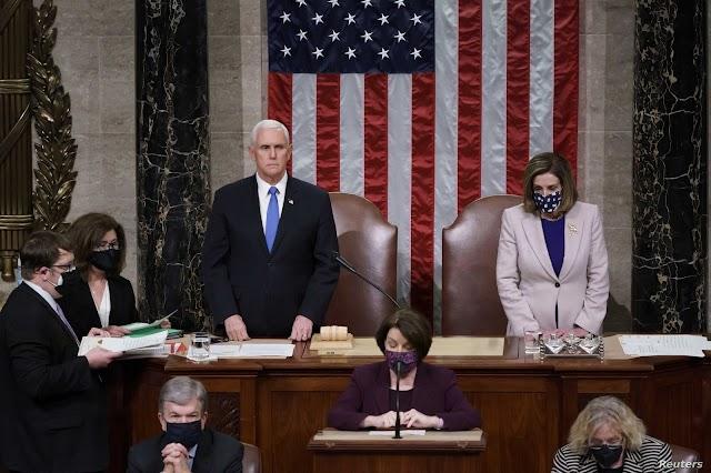 الكونغرس بمجلسيه النواب و الشيوخ يصادق على فوز بايدن برئاسة أميركا الحالي