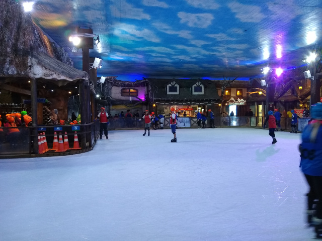 An ice skating ring with some people skating.