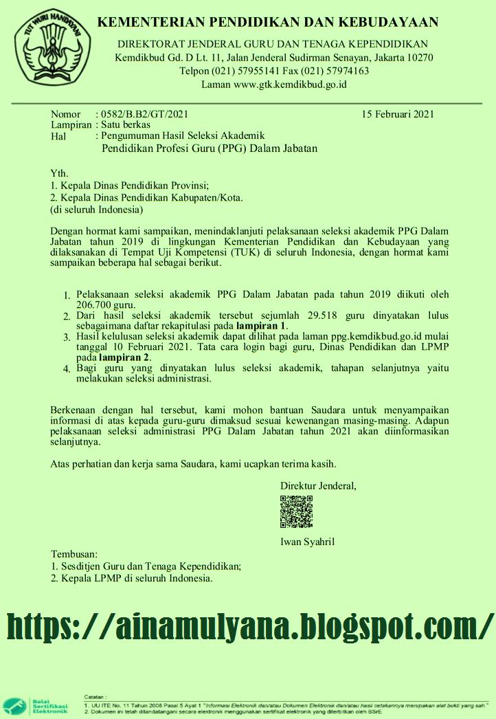 Kementerian Pendidikan dan kebudayaan sudah menyodorkan  PENGUMUMAN HASIL PRETEST PPG TAHUN 2019 (CALON PESERTA PPG DALAM JABATAN TAHUN 2021)