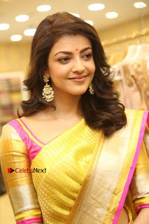 Actress Kajal Agarwal Stills in Golden Silk Saree at Trisha Sesigner Store Launch  0031.jpg