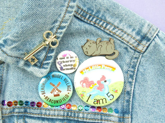 Badges on a denim jacket