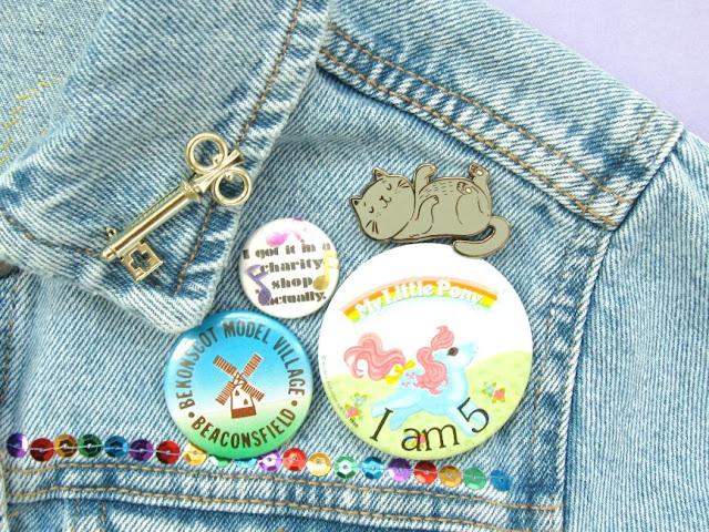 Badges on a denim jacket