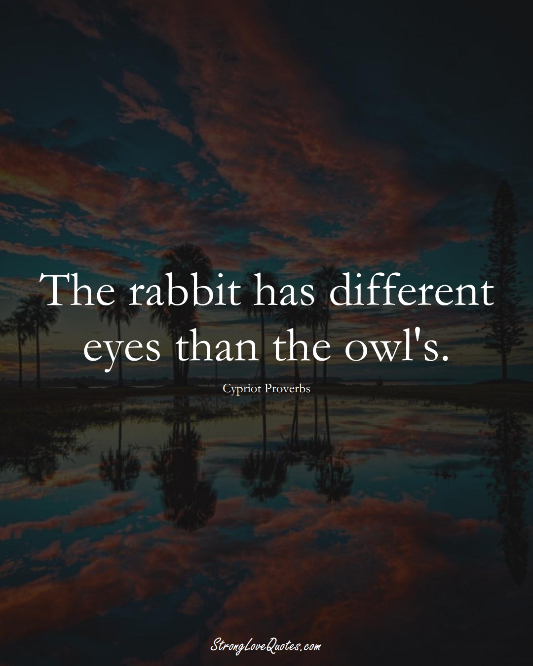 The rabbit has different eyes than the owl's. (Cypriot Sayings);  #MiddleEasternSayings