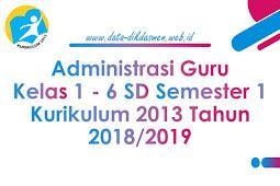 Administrasi Guru Kelas 1 - 6 SD/MI Semester 1 Kurikulum 2013 Tahun 2018/2019