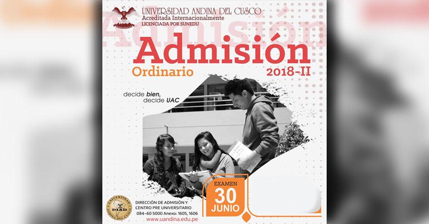 UAC: Resultados Universidad Andina 2018-2 (30 Junio) Lista de Ingresantes Examen Admisión Ordinario - Universidad Andina del Cusco - UANDINA - www.uandina.edu.pe
