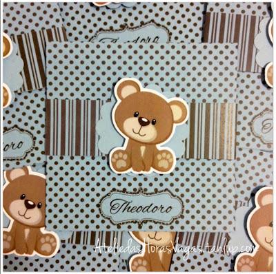 convite artesanal personalizado aniversário infantil urso ursinho menino poá bolinhas marrom e azul 1 aninho