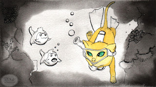 Underwater Kitty Ink Drawing by Tawnya Boe