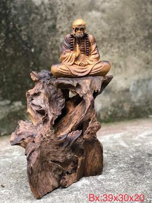 tượng Đạt Ma ngồi thiền gỗ lũa bách xanh mẫu 4