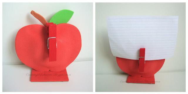 Pinza y notas colocados en nuestra manzana porta notas de goma eva