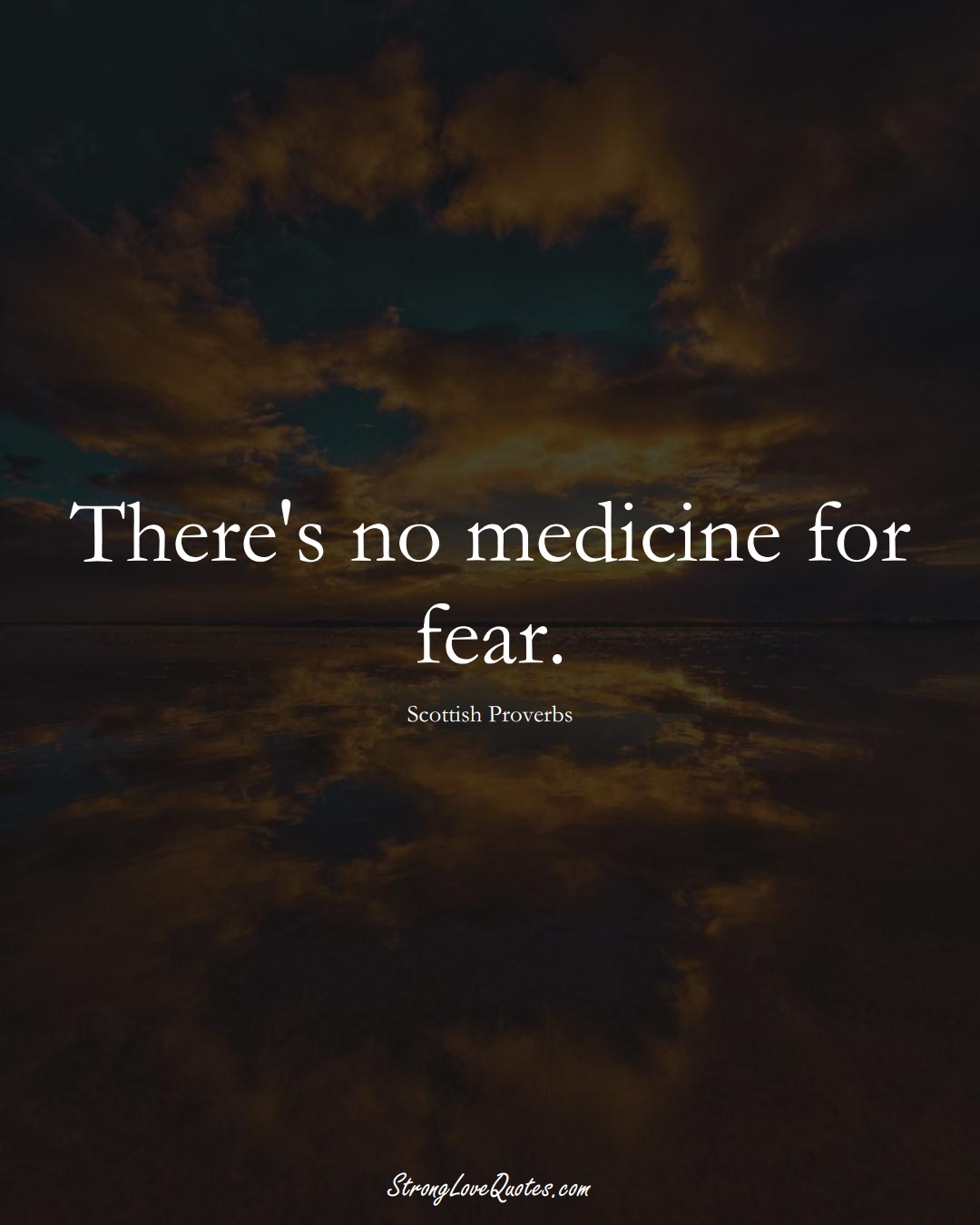 There's no medicine for fear. (Scottish Sayings);  #EuropeanSayings