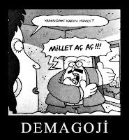 Bir siyasetçinin eşine demagoji yapmasını gösteren bir karikatür çizimi