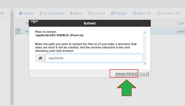 tombol extract file di file manager cPanel