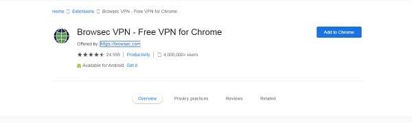 إضافة Browsec VPN لـ متصفح جوجل كروم للكمبيوتر