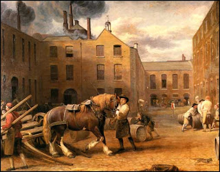A painted engraving by George Garrard of Whitbread Brewery in London in 1792