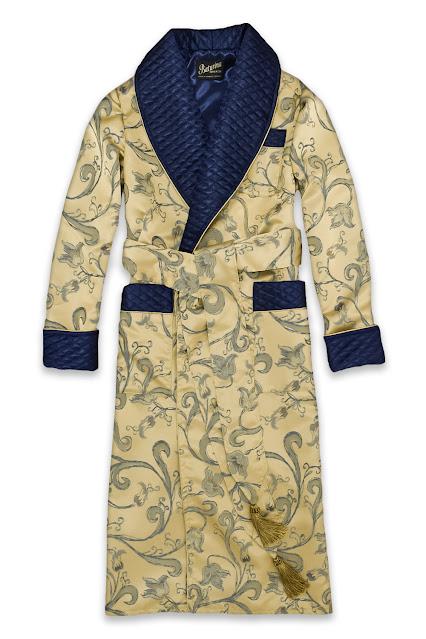 herren morgenmantel gold dunkelblau seide hausmantel dressing gown edel englischer stil klassisch lang gesteppt