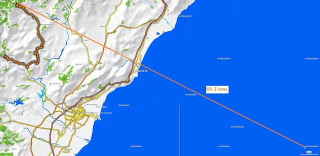 mapa topográfico distancia entre la cima del puerto del vidre y las islas columbretes